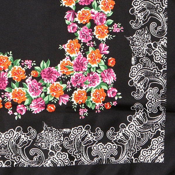 Black Floral Patterned Pocket Square