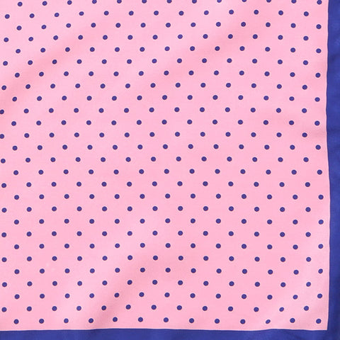 Pink with Navy Polka Dot Pocket Square
