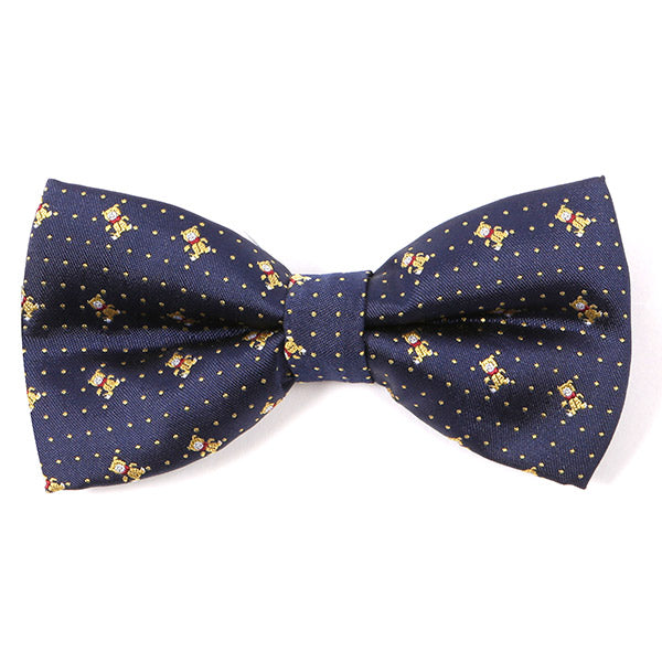 Navy Bear Patterned Bow Tie