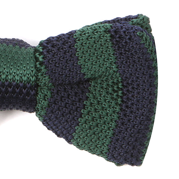 Green & Navy Knitted Bow Tie