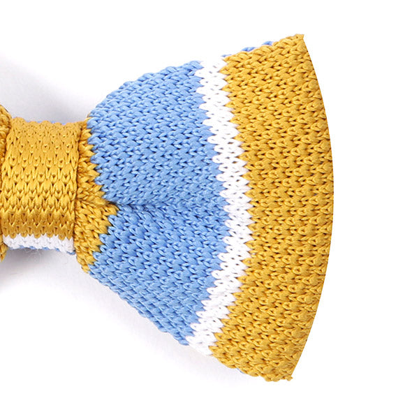 Light Blue And Mustard Knitted Bow Tie