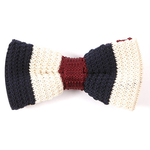 Navy Blue And Red Knitted Bow Tie