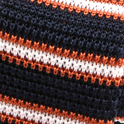 Navy And Orange Duo Silk Knitted Tie - Handmade Silk Wool And Knitted Ties by Tie Doctor