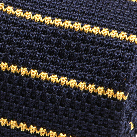Navy And Yellow Striped Silk Knitted Tie - Handmade Limited Edition Ties by Tie Doctor