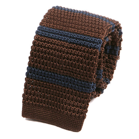 Chocolate Brown Silk Knitted Tie - Handmade Silk Wool And Knitted Ties by Tie Doctor