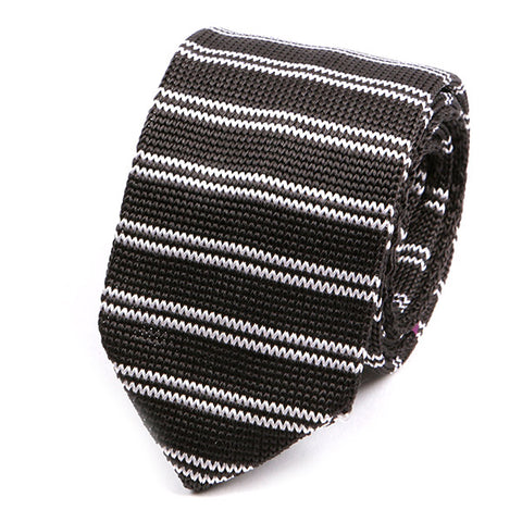Donovan Striped Silk Pointed Knit Tie - Handmade Silk Wool And Knitted Ties by Tie Doctor