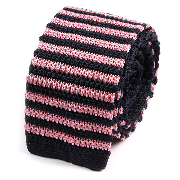 Navy and Pink Striped Silk Knitted Tie - Handmade Silk Wool And Knitted Ties by Tie Doctor