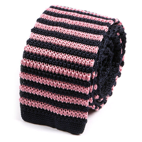 Navy and Pink Striped Silk Knitted Tie - Handmade Limited Edition Ties by Tie Doctor