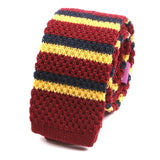 Red Duo Striped Wool Knitted Tie - Handmade Limited Edition Ties by Tie Doctor