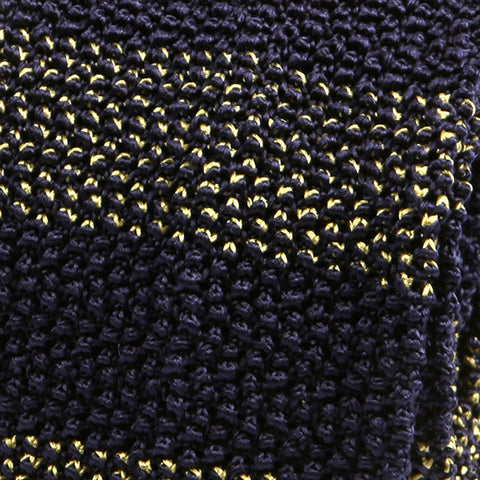 Navy Lucas Silk Block Knitted Tie - Handmade Limited Edition Ties by Tie Doctor