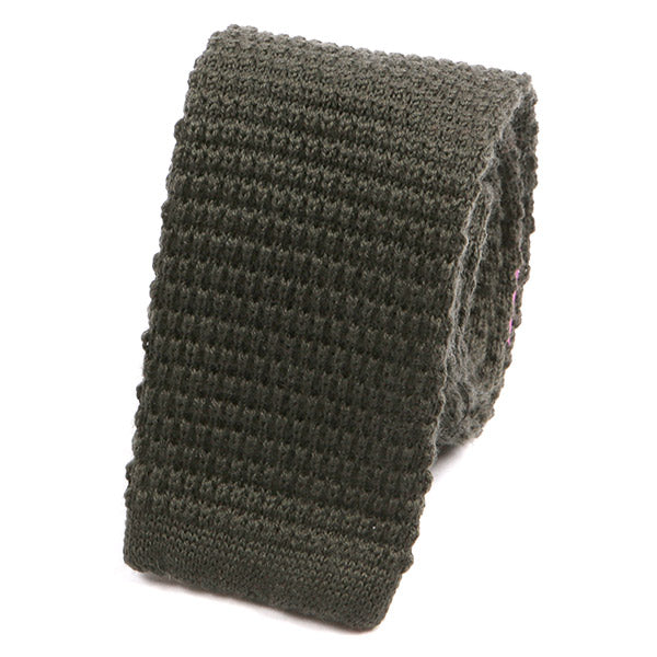 Khaki Green Wool Knitted Tie - Handmade Limited Edition Ties by Tie Doctor