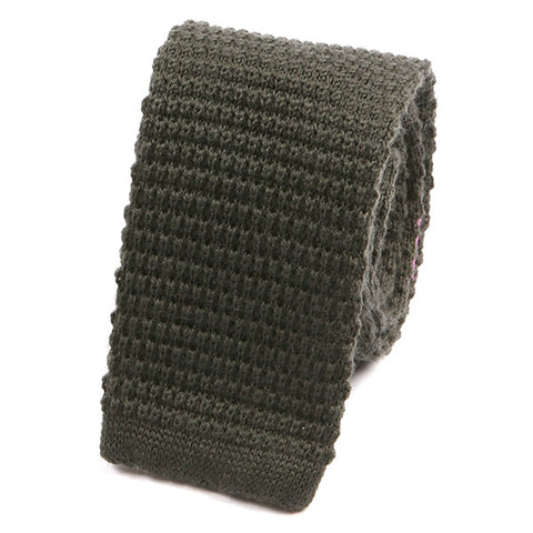 Khaki Green Wool Knitted Tie - Handmade Silk Wool And Knitted Ties by Tie Doctor