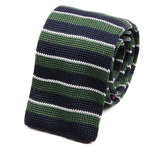 Meave Green Silk Knitted Tie - Handmade Silk Wool And Knitted Ties by Tie Doctor