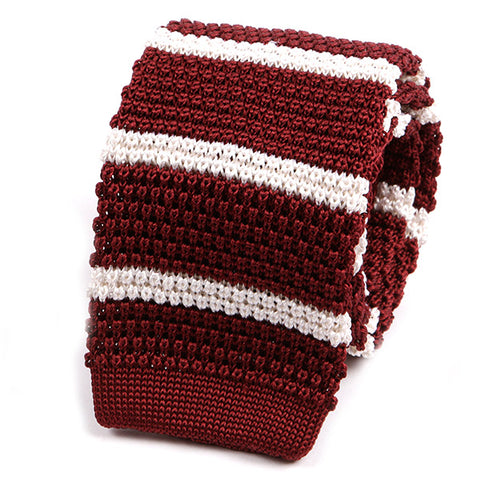 RED AND WHITE SILK KNITTED TIE - Handmade Limited Edition Ties by Tie Doctor