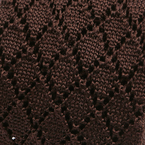 CHOCOLATE ZIG SILK KNITTED TIE - Handmade Silk Wool And Knitted Ties by Tie Doctor
