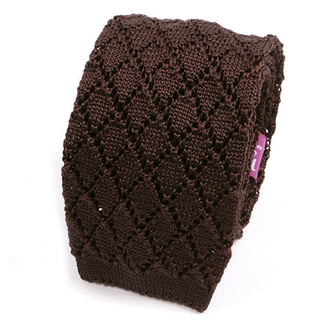 CHOCOLATE ZIG SILK KNITTED TIE - Handmade Limited Edition Ties by Tie Doctor