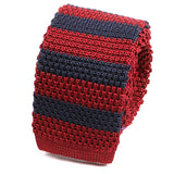 Red & Navy Silk Knitted Tie - Handmade Limited Edition Ties by Tie Doctor