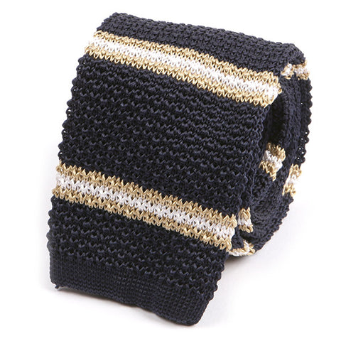 NAVY AND GOLD DUO SILK KNITTED TIE - Handmade Silk Wool And Knitted Ties by Tie Doctor