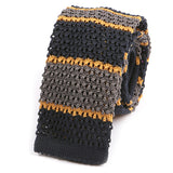 Navy & Gold Striped Knit Tie - Handmade Silk Wool And Knitted Ties by Tie Doctor