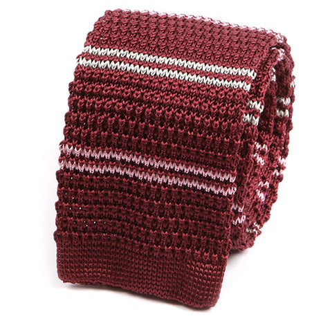 Red & Pink Kent Silk Knitted Tie - Handmade Limited Edition Ties by Tie Doctor