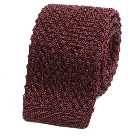 Raised Wine Silk Knitted Tie - Handmade Limited Edition Ties by Tie Doctor