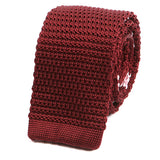 Burgundy Wine Silk Knitted Tie - Handmade Silk Wool And Knitted Ties by Tie Doctor