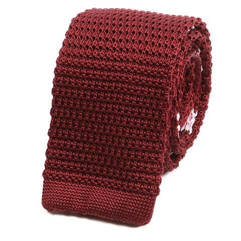 Burgundy Wine Silk Knitted Tie - Handmade Limited Edition Ties by Tie Doctor