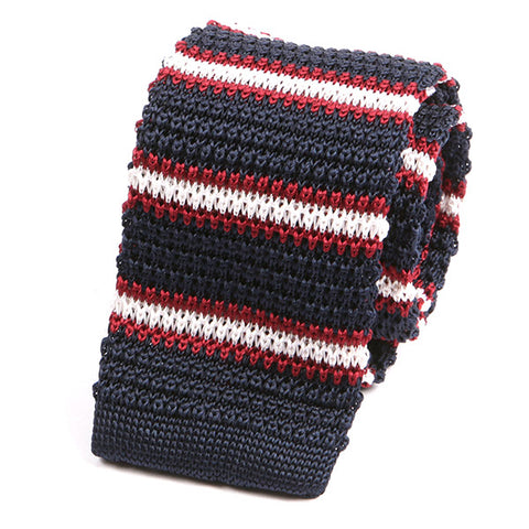 NAVY AND RED DUO SILK KNITTED TIE - Handmade Limited Edition Ties by Tie Doctor