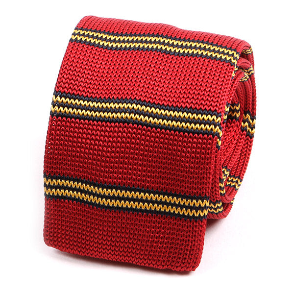 Red Striped Silk Knitted Tie