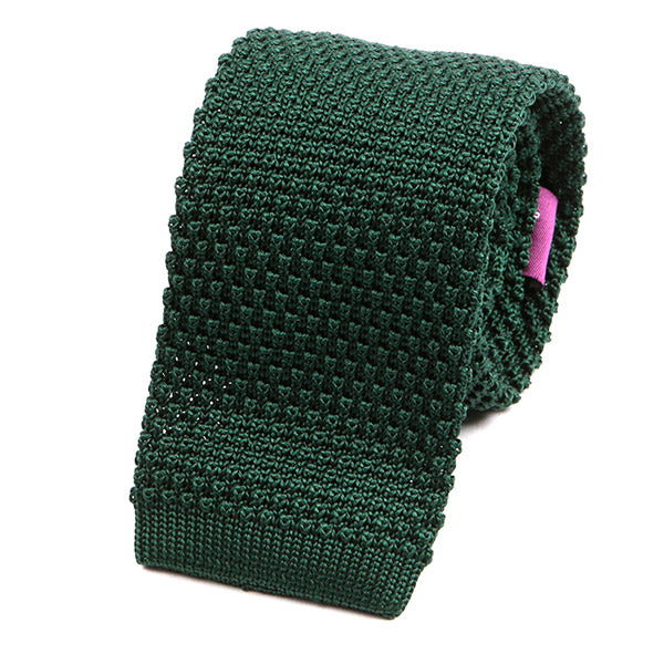 GREEN SILK KNIT TIE - Handmade Silk Wool And Knitted Ties by Tie Doctor