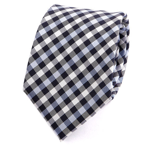 Navy Blue Check Silk Tie - Handmade Silk Wool And Knitted Ties by Tie Doctor