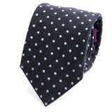 Grey & Blue Polka Dot Wool Tie - Handmade Silk Wool And Knitted Ties by Tie Doctor