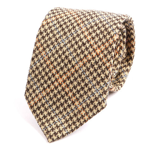 Light Brown Houndstooth Wool Tie - Handmade Limited Edition Ties by Tie Doctor