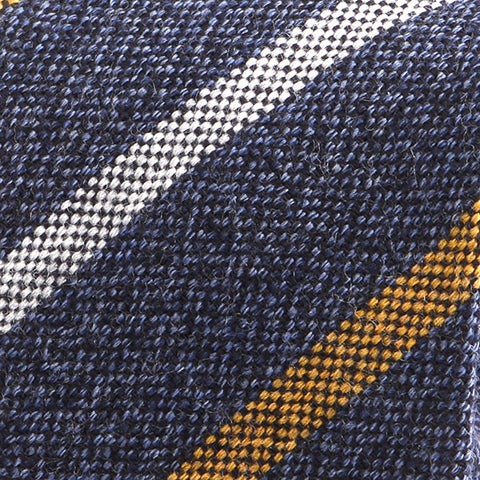 BLUE & YELLOW STRIPED WOOL TIE - Handmade Limited Edition Ties by Tie Doctor