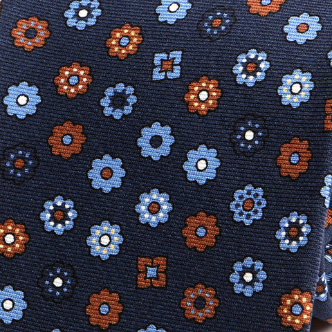 Navy Blue Floral Silk Tie - Handmade Silk Wool And Knitted Ties by Tie Doctor