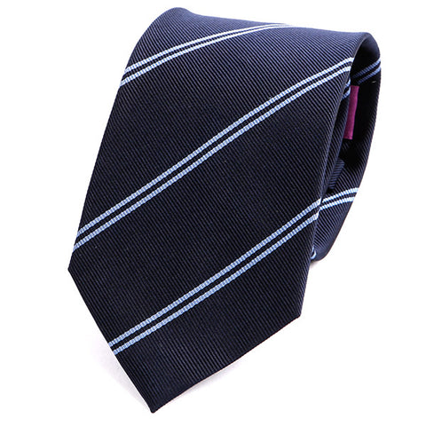 Navy Duo Lined Silk Tie - Handmade Silk Wool And Knitted Ties by Tie Doctor