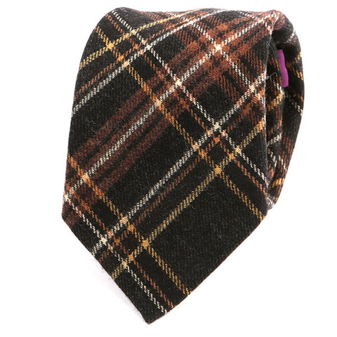 Black & Brown Check Wool Tie - Handmade Silk Wool And Knitted Ties by Tie Doctor