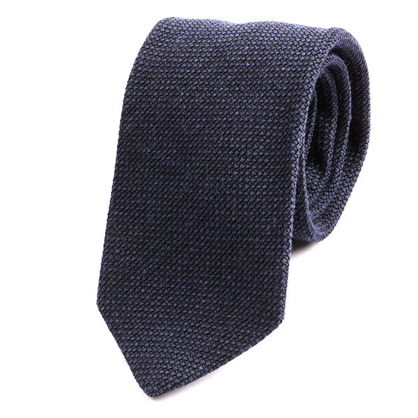 Navy Grenadine Wool Tie - Handmade Silk Wool And Knitted Ties by Tie Doctor