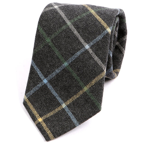 Grey & Yellow Check Wool Tie - Handmade Limited Edition Ties by Tie Doctor