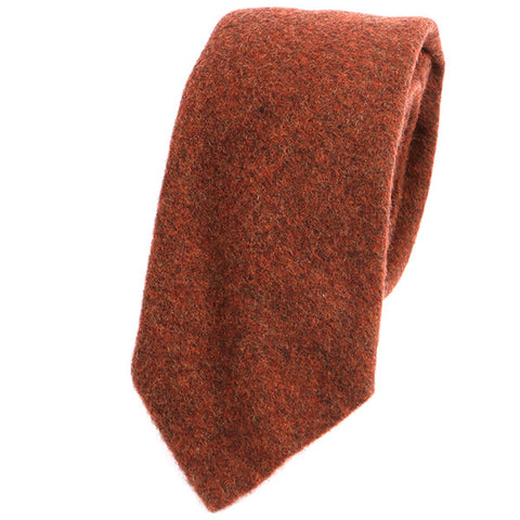 BURNT ORANGE BRUSHED WOOL TIE - Handmade Silk Wool And Knitted Ties by Tie Doctor
