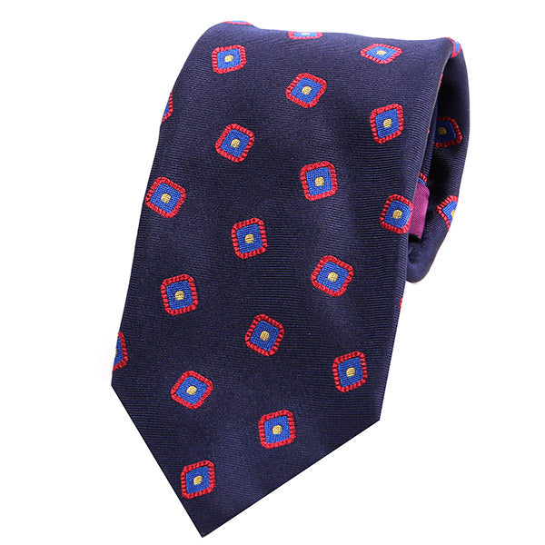 NAVY CUBE FOLD ITALIAN SILK TIE - Handmade Silk Wool And Knitted Ties by Tie Doctor