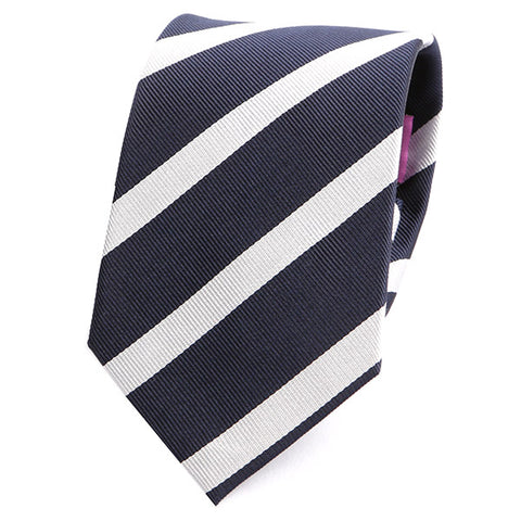 NAVY & WHITE STRIPE SILK TIE - Handmade Silk Wool And Knitted Ties by Tie Doctor