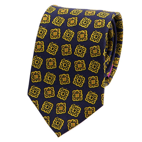 NAVY & GOLD CUBE MACCLESFIELD SILK TIE - Handmade Silk Wool And Knitted Ties by Tie Doctor