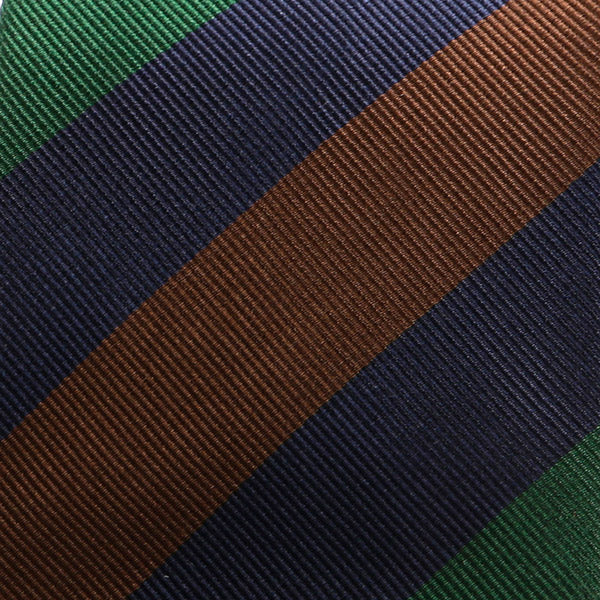 NAVY BROWN & GREEN THICK STRIPED SILK TIE - Handmade Silk Wool And Knitted Ties by Tie Doctor