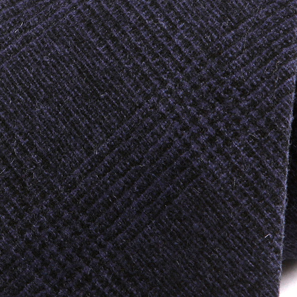 DARK NAVY CHECK WOOL TIE - Handmade Silk Wool And Knitted Ties by Tie Doctor