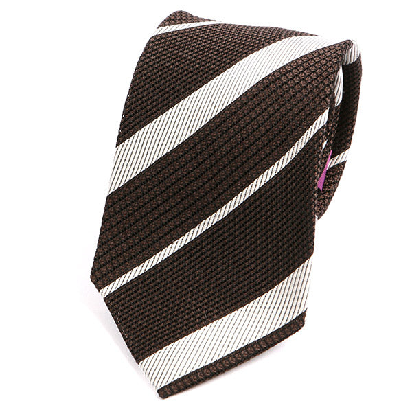 BROWN & WHITE GRENADINE STRIPED SILK TIE - Handmade Silk Wool And Knitted Ties by Tie Doctor