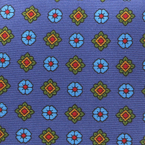 BLUE MACCLESFIELD MOTIF DOTS SILK TIE - Handmade Limited Edition Ties by Tie Doctor