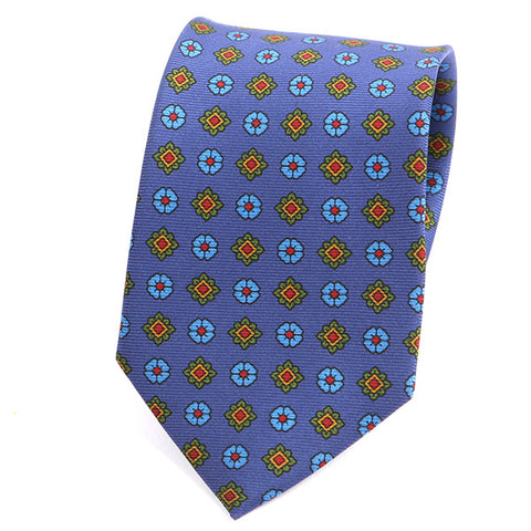 BLUE MACCLESFIELD MOTIF DOTS SILK TIE - Handmade Silk Wool And Knitted Ties by Tie Doctor
