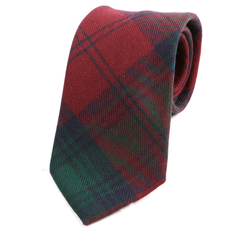 Red & Green Wool Check Tie - Handmade Limited Edition Ties by Tie Doctor