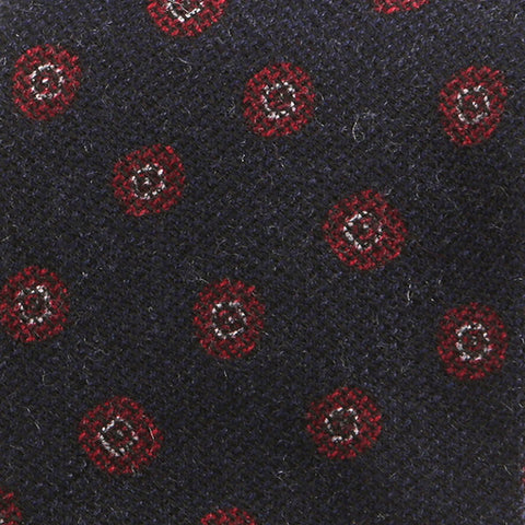 Navy & Red Circle Wool Tie - Handmade Silk Wool And Knitted Ties by Tie Doctor